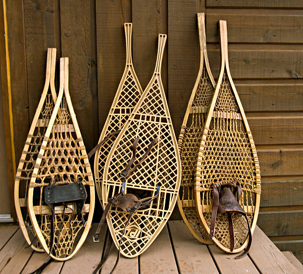 Assorted snowshoes stock photo