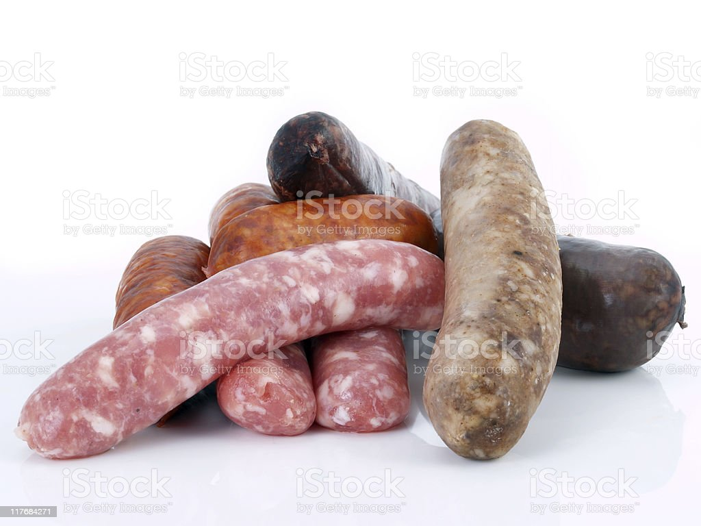 Assorted spanish sausages royalty-free stock photo