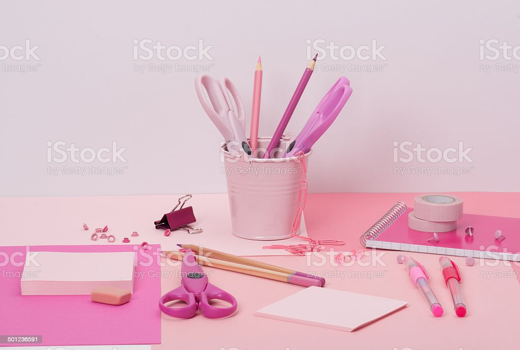 Assorted Stationery Items On A Desk royalty-free stock photo
