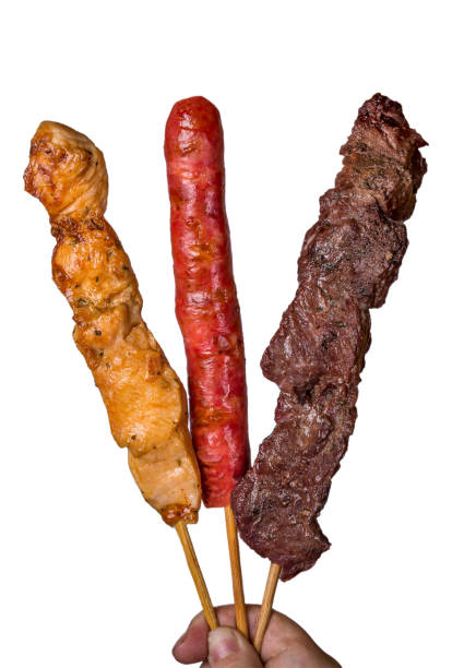 Assorted steak skewers on white background. Assorted steak skewers on white background. estudio stock pictures, royalty-free photos & images