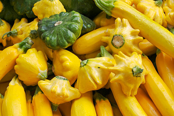 Assorted summer squash at the farmer's market stock photo