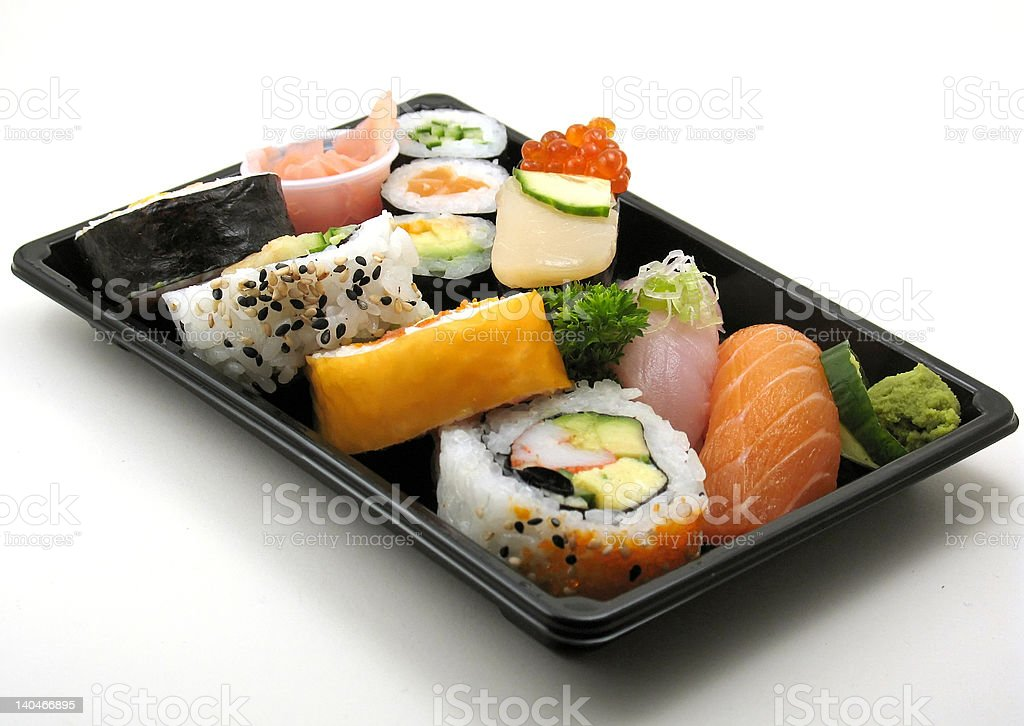 Assorted sushi lunch stock photo
