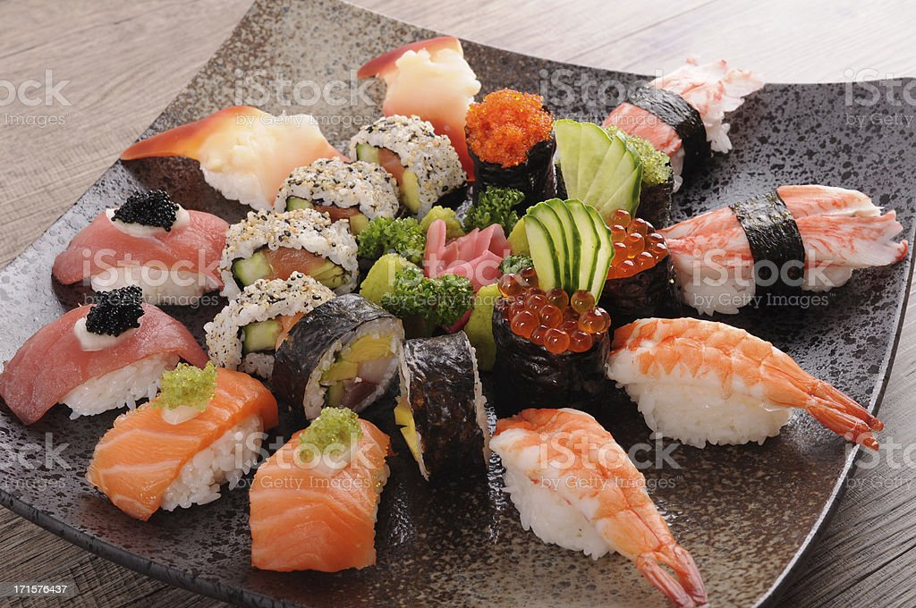 Assorted sushi platter royalty-free stock photo