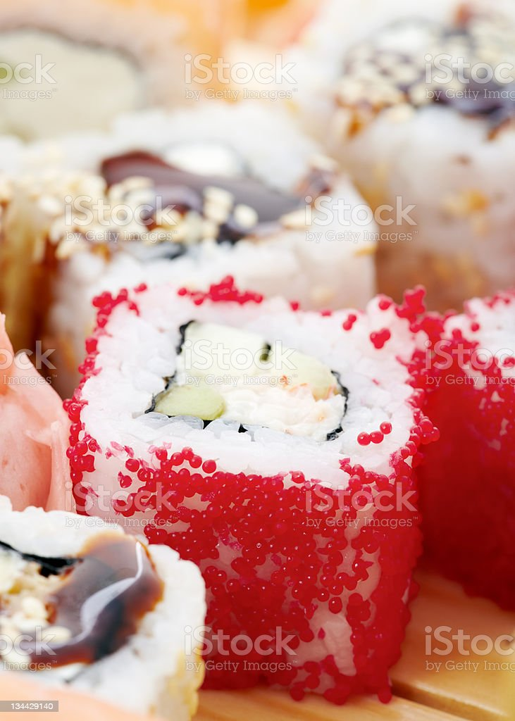 Assorted sushi rolls closeup royalty-free stock photo