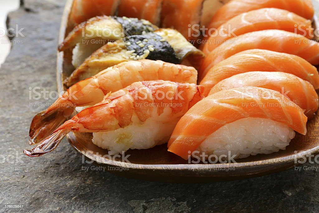 Assorted sushi with salmon, shrimp and eel royalty-free stock photo