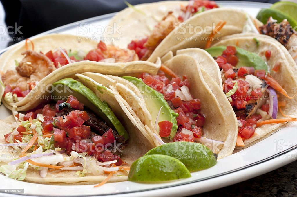 Assorted tacos royalty-free stock photo
