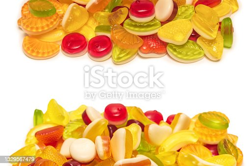 istock Assorted tasty gummy candies. 1329567479