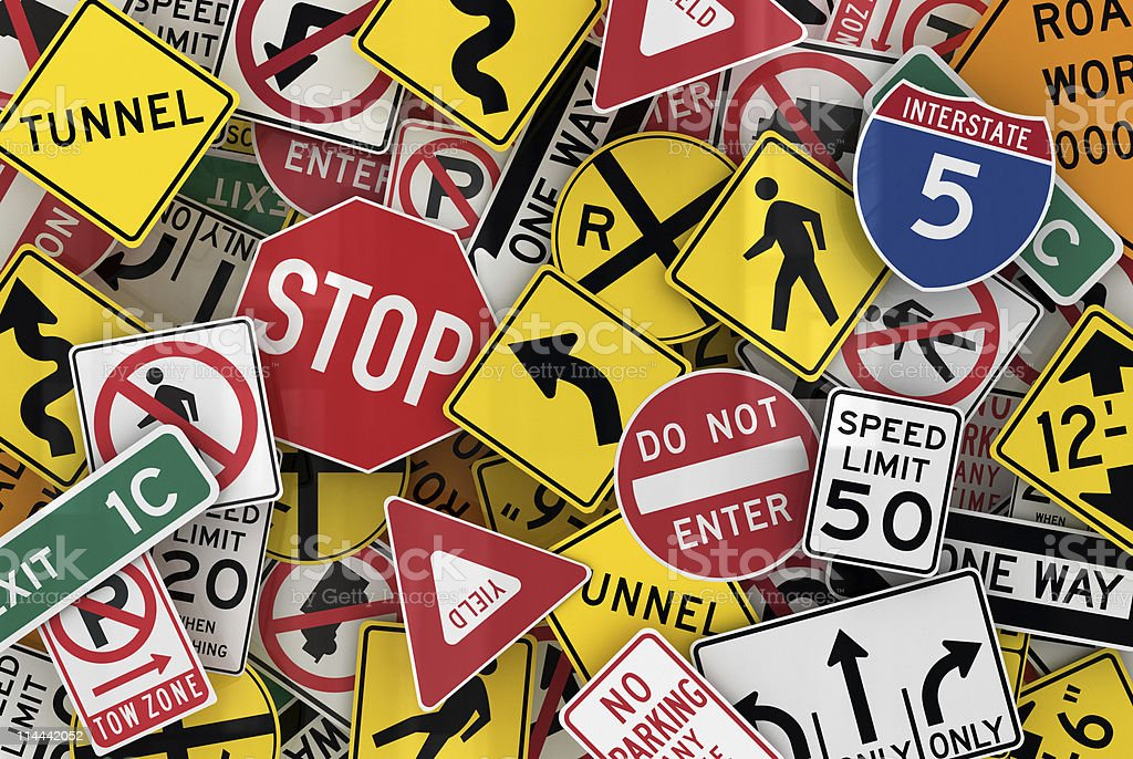 Assorted traffic sign wallpaper stock photo