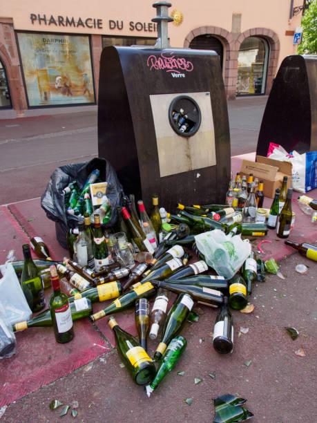 Assorted trash after celebrations, vertical, Colmar, France stock photo