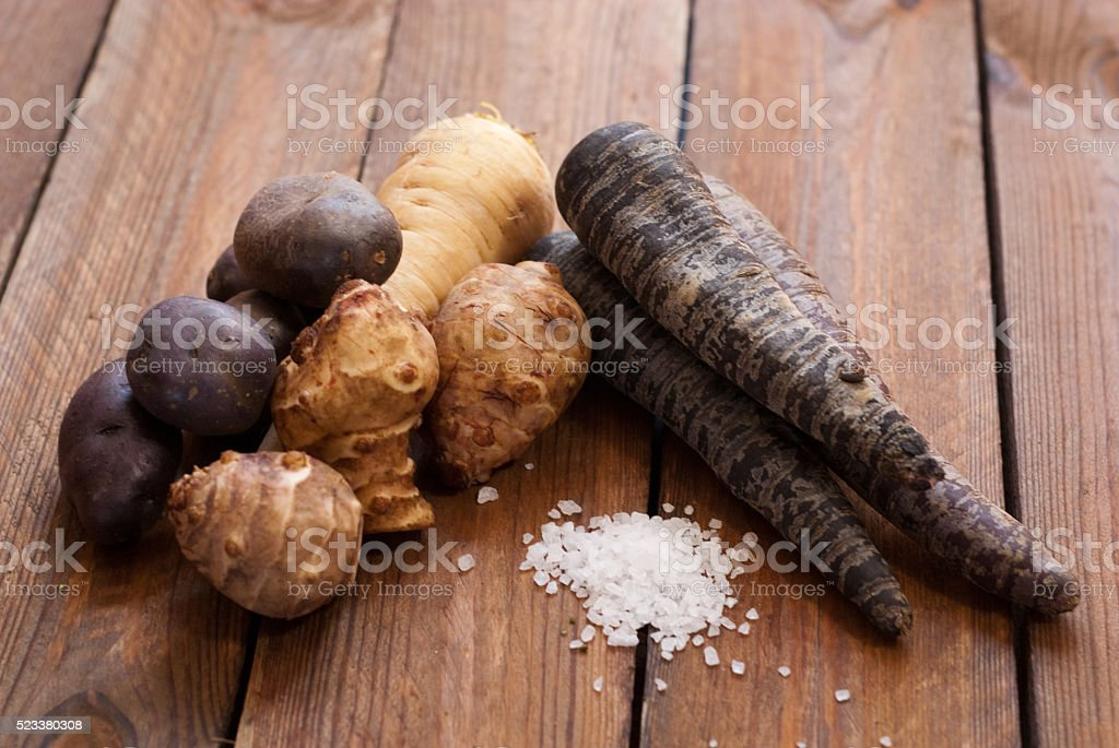 assorted tuber and root vegetables stock photo