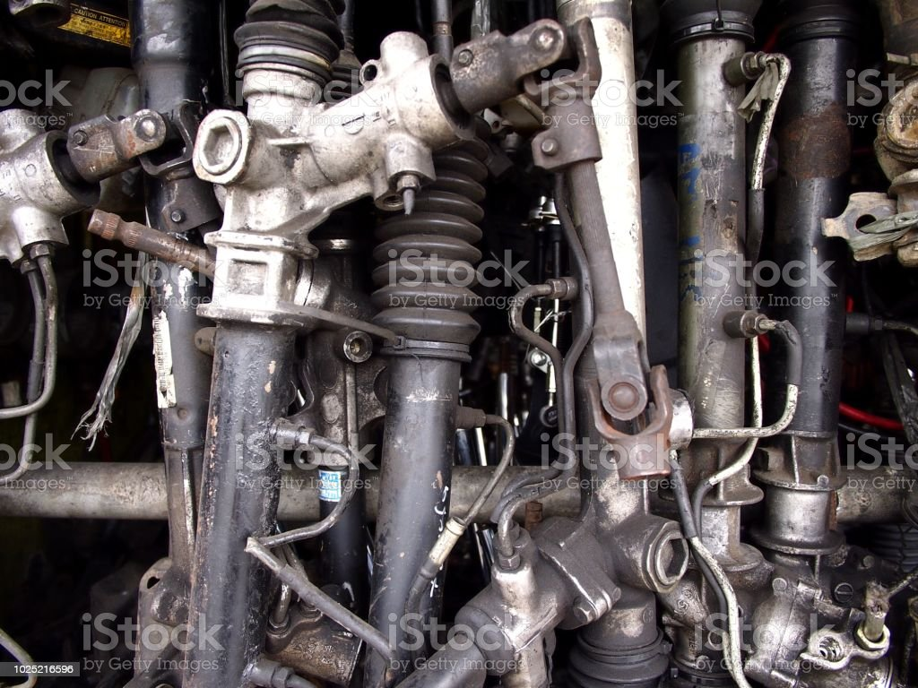 Assorted used car or automobile spare parts stock photo