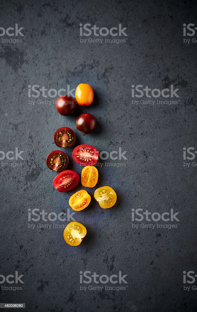 Assorted varieties of cherry  tomato stock photo