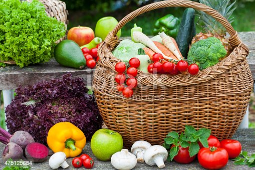 istock Assorted vegetables in wicker basket 475125684