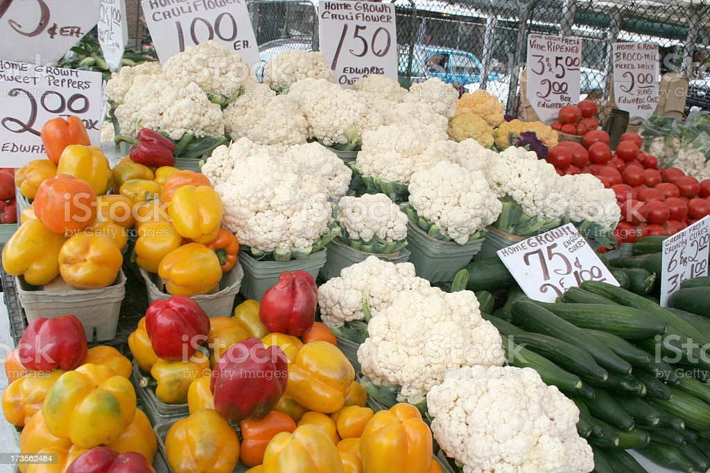 Assorted Veggies: Sweet Peppers, Cauliflower, Cucumbers, Tomatoe stock photo