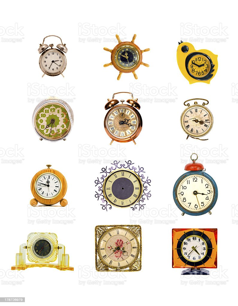 assorted vintage clock and alarm-clock collection on white royalty-free stock photo