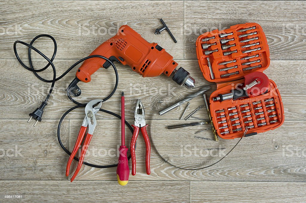 Assorted work tools stock photo