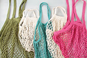 istock Assortiment of reusable net bags or shoppers 1160418208