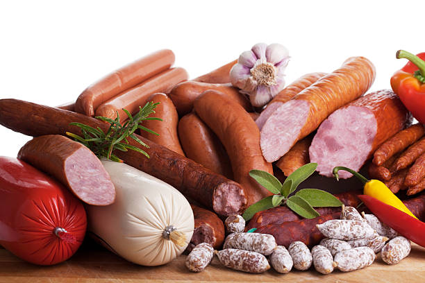 assortiment of sausages stock photo