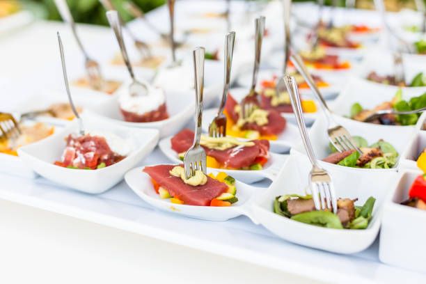 assortment appetizers and finger food stock photo