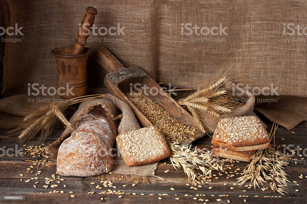 Assortment bread and ciabatta stock photo