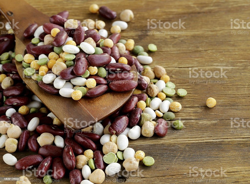 Assortment  different types of beans stock photo