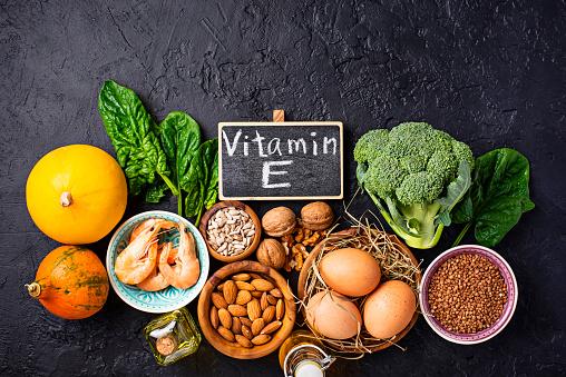 Assortment Food Sources Of Vitamin E - zdjęcia stockowe i więcej obrazów Bez ludzi