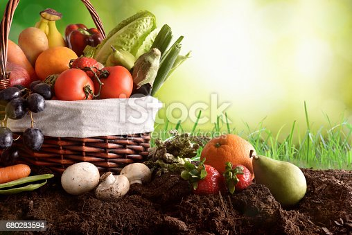 istock Assortment fruits and vegetables on soil and green background 680283594