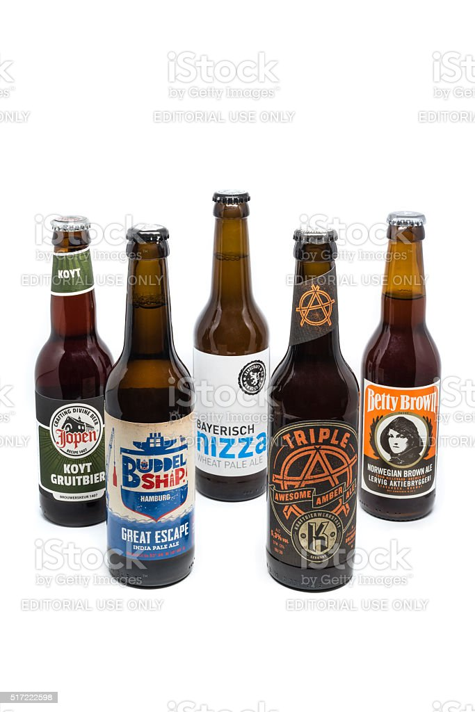 Assortment of 5 craft microbrew beers stock photo
