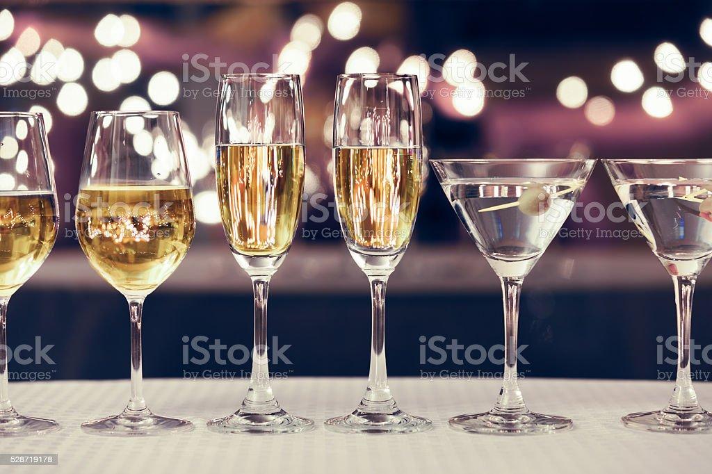 Assortment of alcoholic drinks stock photo