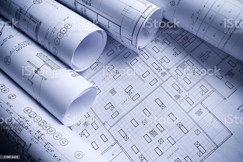 Assortment of architechtural drawings royalty-free stock photo