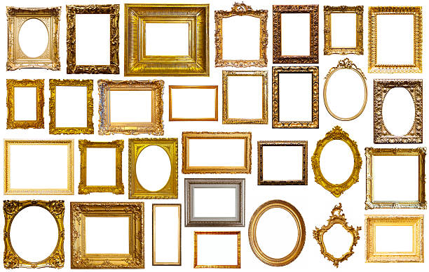 assortment of art frames - barokstijl stockfoto's en -beelden