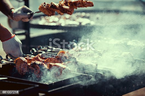 istock Assortment of barbecue on the grill 681007218