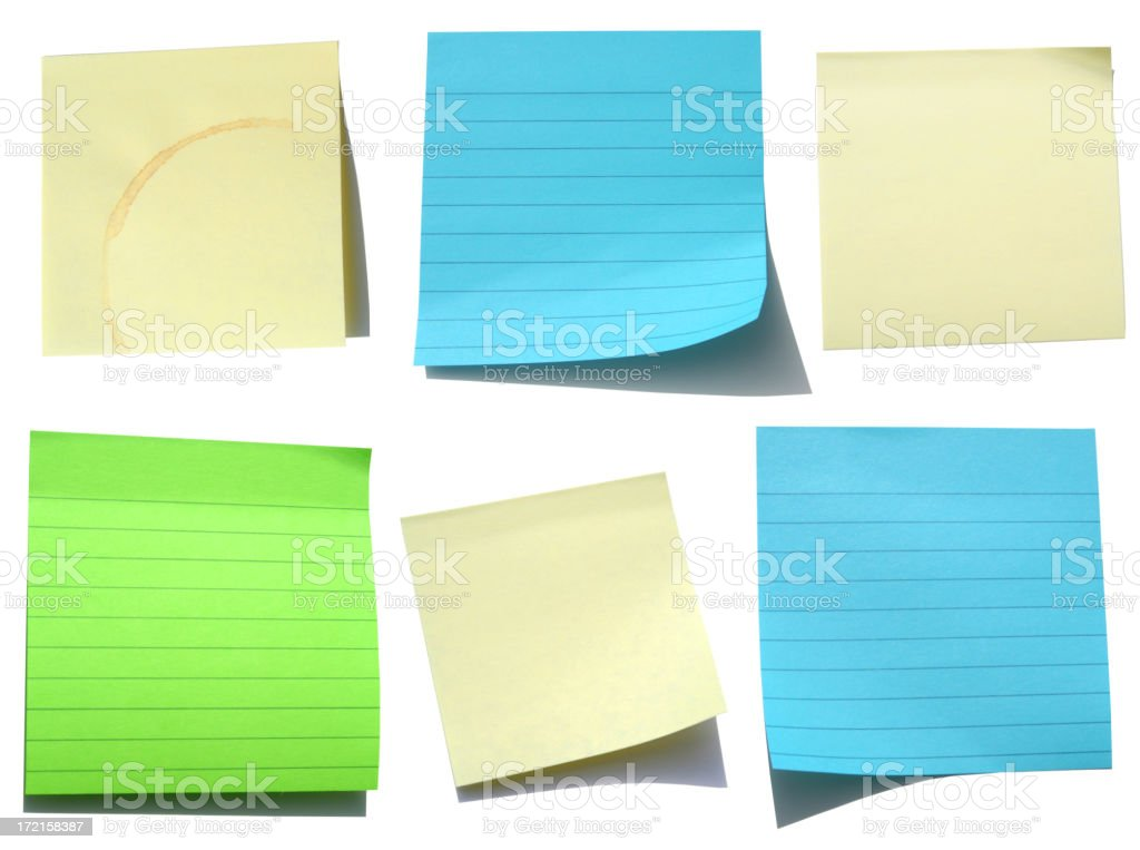 Assortment of Blank Papers: Post-its on White stock photo