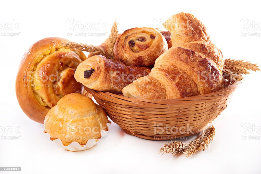 assortment of bread and croissant stock photo