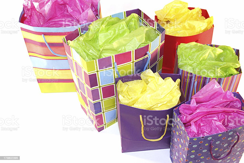 Assortment of Bright Shopping Bags royalty-free stock photo