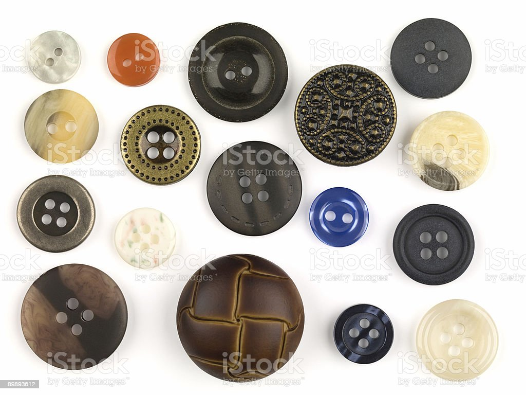 Assortment Of Buttons With Clipping Path royalty-free stock photo