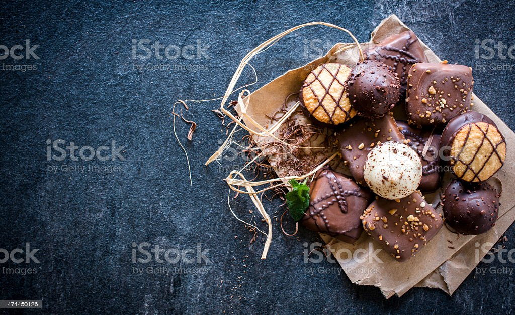 Assortment of chocholate biscuits stock photo
