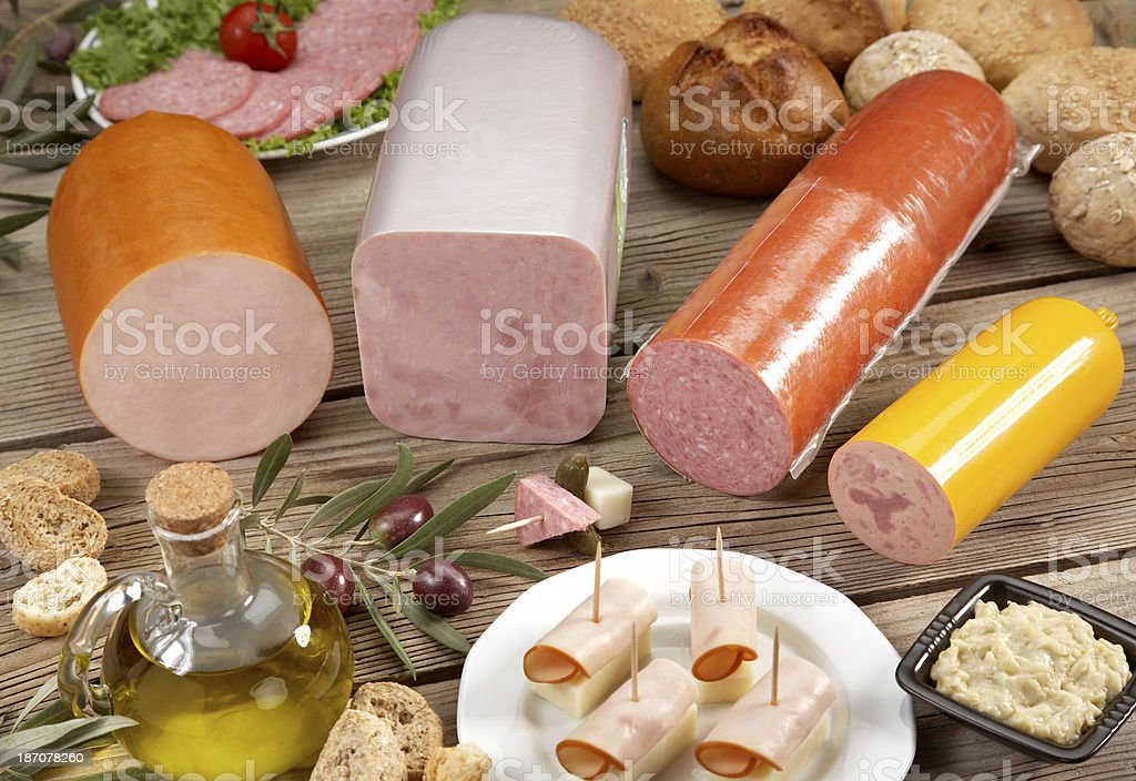 Assortment of cold cuts royalty-free stock photo