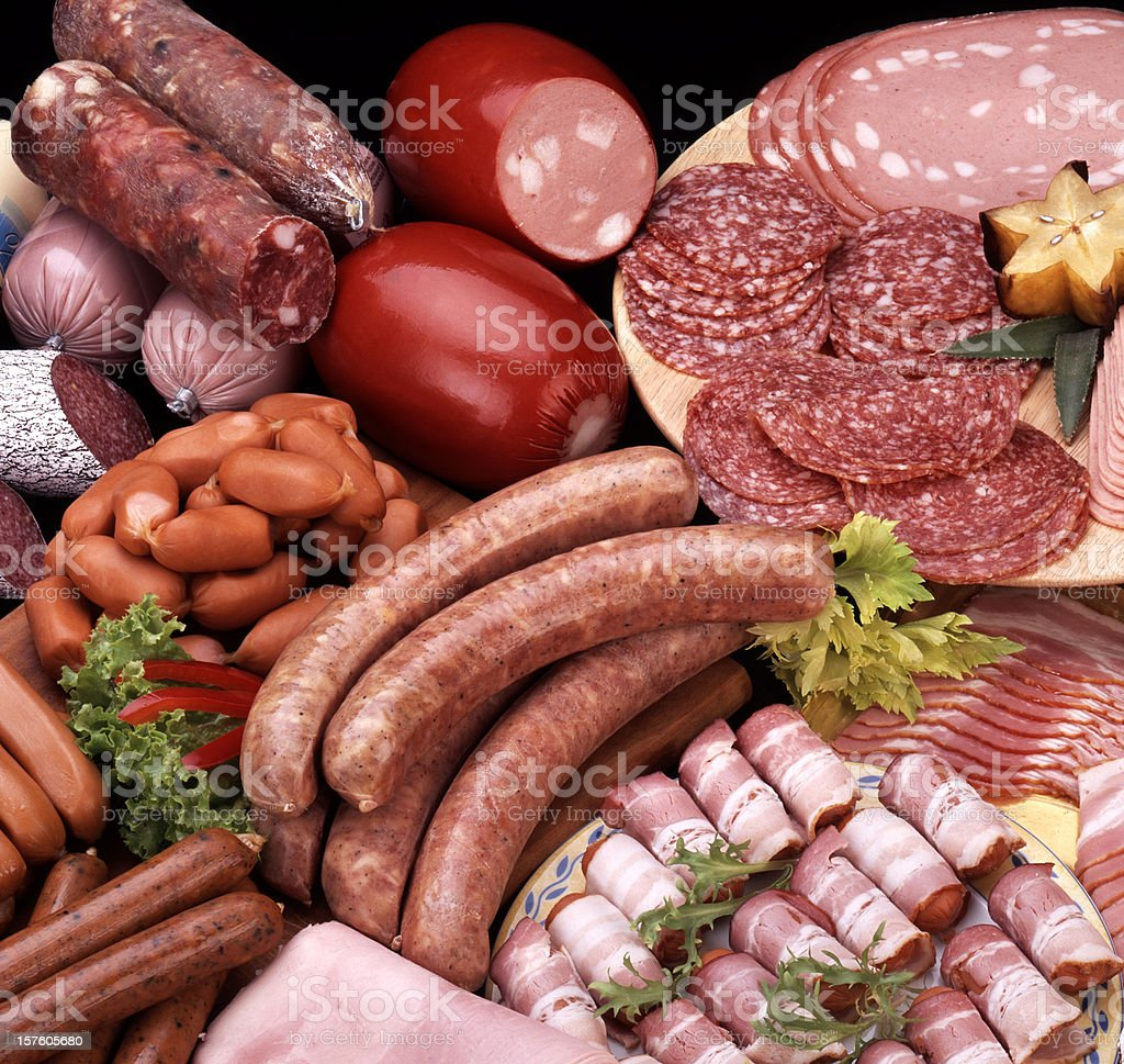 Assortment of cold meats stock photo