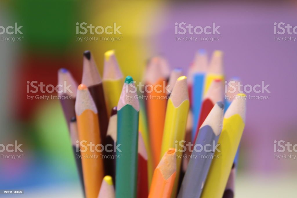 Assortment of colored pencils Colored Drawing Pencils Colored drawing pencils in a variety of colors royalty-free stock photo