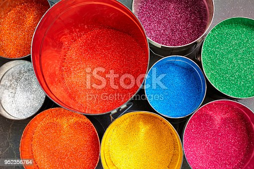 Assortment of colorful paint cans