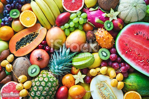 istock Assortment of colorful ripe tropical fruits. Top view 995518546