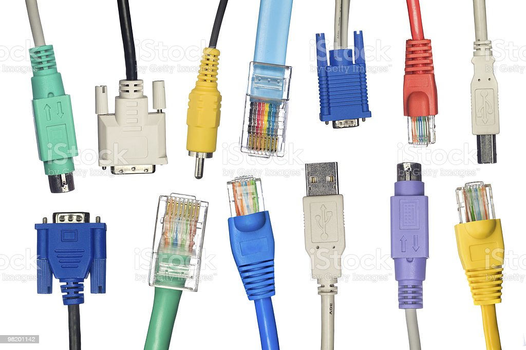 Assortment of computer cables royalty-free stock photo