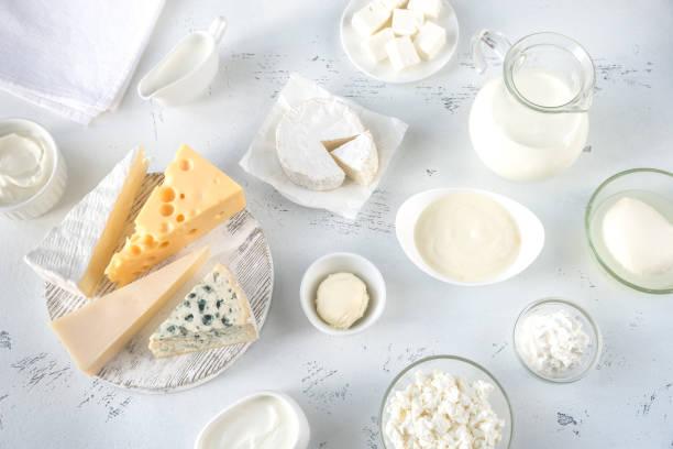 assortment of dairy products - maasdam foto e immagini stock