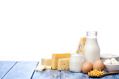 Assortment of most common dairy products like milk, cheese, yogurt, cottage cheese, butter and eggs shot on blue striped table against defocused blue sky with clouds. The composition is at the right of an horizontal frame leaving useful copy space for text and/or logo. Predominant colors are white and blue. High key DSRL studio photo taken with Canon EOS 5D Mk II and Canon EF 100mm f/2.8L Macro IS USM.
