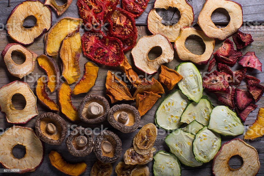 Assortment of dehydrated fruits and vegetables stock photo