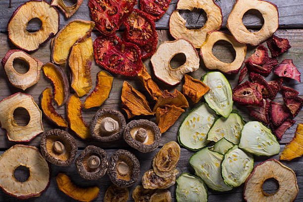 assortment of dehydrated fruits and vegetables - dried fruit stock photos and pictures