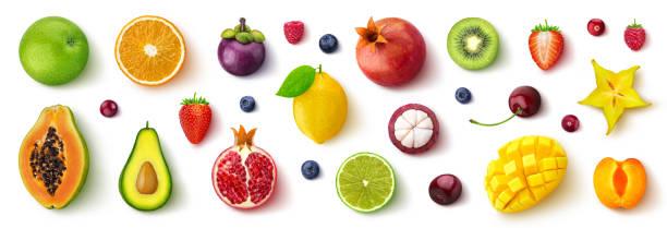 assortiment van verschillende vruchten en bessen, platte lay, bovenaanzicht - fruit stockfoto's en -beelden