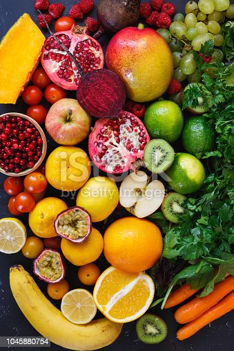 istock Assortment of different fruits and vegetables in rainbow colors, Healthy eating concept 1045880754
