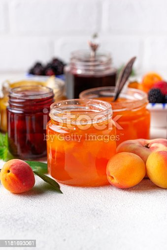 Assortment of different homemade jams in jars